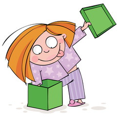 Girl in pajamas opens a gift box