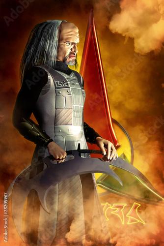 Leinwanddruck Bild alien warrior
