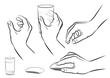 Hände, Glas und PC-Maus