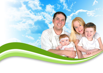 Happy Family Header Background Clouds