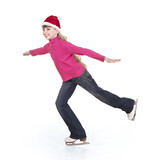 Young girl figure skating.