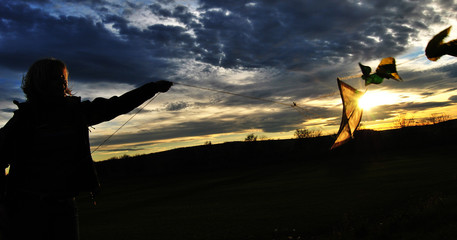 kiteflying on sunset
