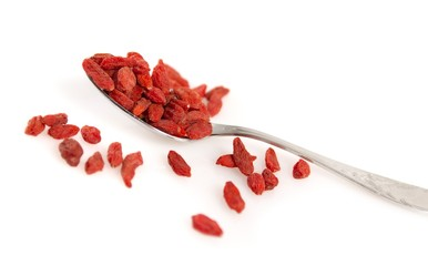 goji berries in a spoon