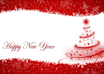 happy new year illustration with christmas tree