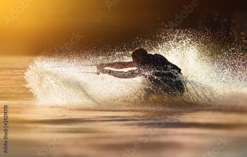Waterskier waterskiing