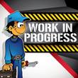 Comical work in progress banner