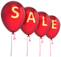 Red balloons decorated with golden word SALE