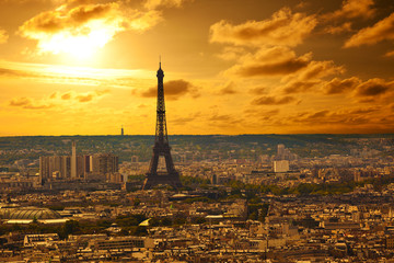 Paris skyline at sunset. Eiffel tower area