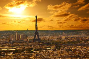 Paris skyline at sunset. Eiffel tower area
