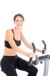 Happy White Woman Riding Exercise Bike Isolated Background
