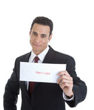 Smug Businessman Holding Envelope Marked Foreclosed, Isolated