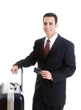 Smiling Caucasian Man Traveling With Suitcase Passport Isolated poster