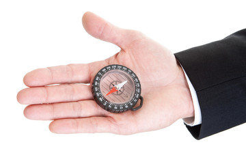 Man's Hand Holding Clear Compass Isolated on White Background