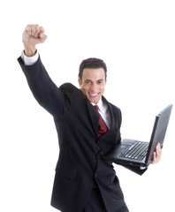 Celebrating Caucasian Man Suit Holding Laptop Isolated White