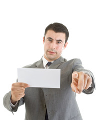 White Hispanic Man Pointing At Camera Blank Envelope