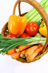 Vegetables in basket closeup view