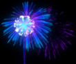 Festive purple and blue fireworks at night