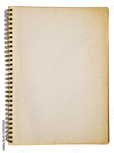 Yellowed spiral notebook isolated on white background
