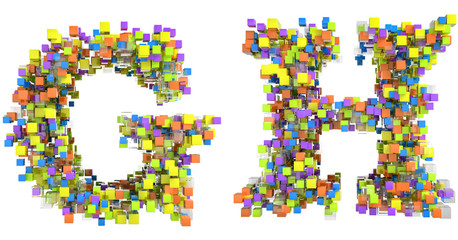 Abstract cubes font G and H letters isolated