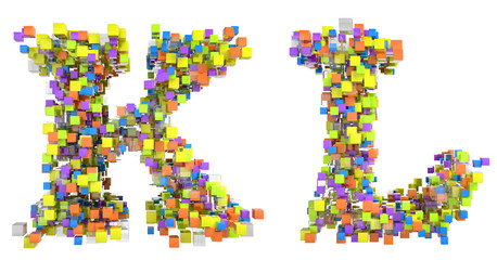 Abstract cubes font K and L letters isolated