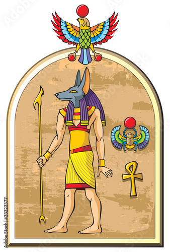 Stylized image of Anubis, the god of ancient Egypt, vector