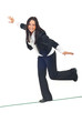 Business woman walk on tightrope
