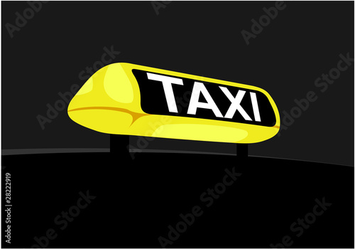 Close up of a taxi hire light or sign