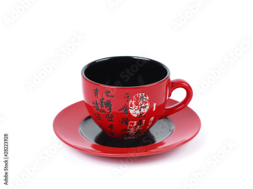 China tradicional red tea cup . isolated on white background