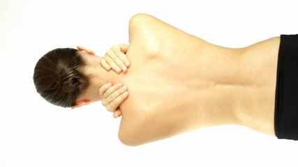 Woman massaging neck, vertical shot, isolated