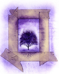 grungy frame with tree