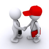 3d businessman shaking hands with customer