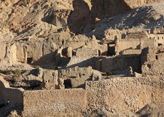 Ruins of mountain oasis Chebika at border of Sahara, Tunisia