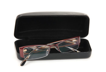 New modern spectacles with a black case