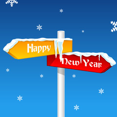 new year card with direction board