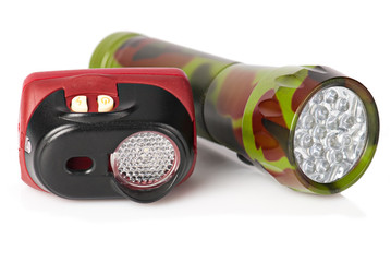 Two tourist flashlights on white background