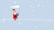 Santa Claus with white flag running during blizzard