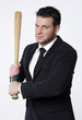 business man en crise avec batte de baseball