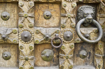 Details of an old carved wooden door