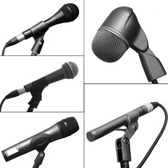 Collection of different microphones isoleted on white background