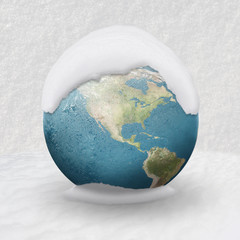 Frozen Earth covered by snow USA