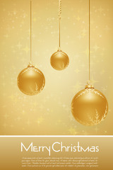 golden merry christmas card