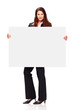 beautiful young girl holding white board
