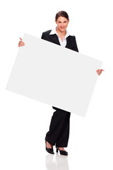 young woman with business outfit, holding board