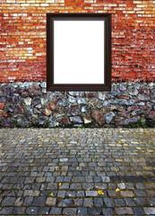 frame and  different building epochs masonry, brickwork and pavi