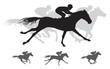 Horse race vector Silhouettes