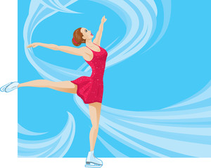 Figure Skater on a flowing background.