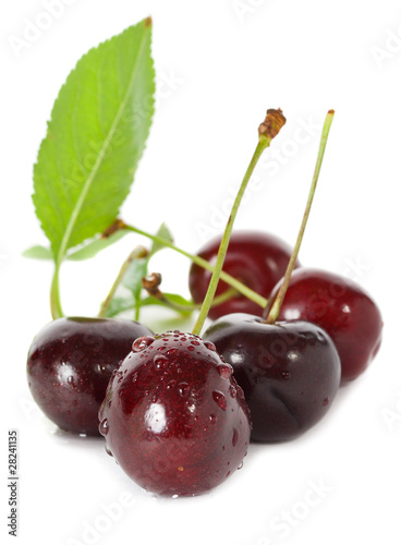 sweet cherries with leaves