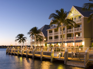 Hotel in Key West at sunset, floida, USA