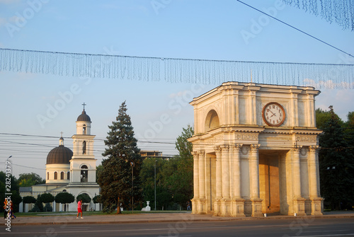 Triumphal Arch and the Cathedral, Chisinau, Moldova