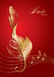 Golden treble clef in the form of the bird's feather on the red